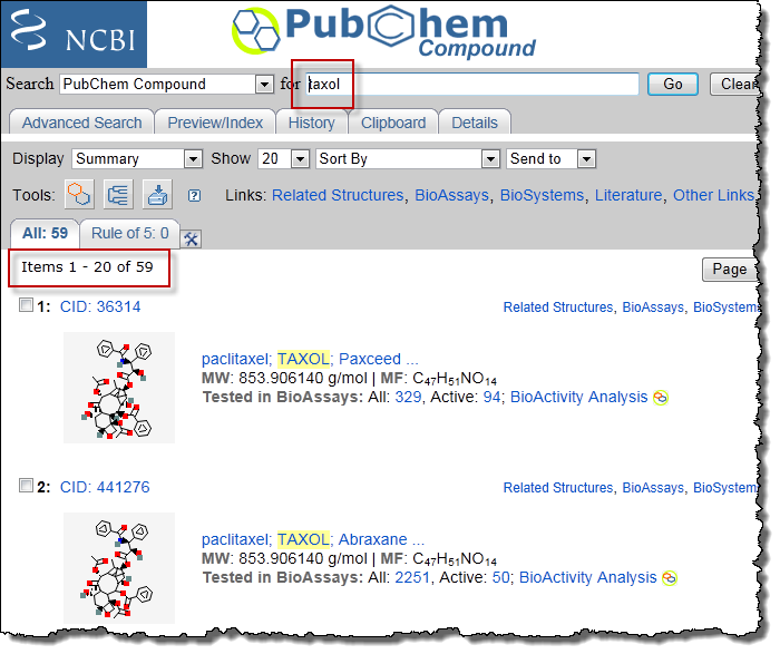 187 searching for complete synonyms in pubchem and the npc